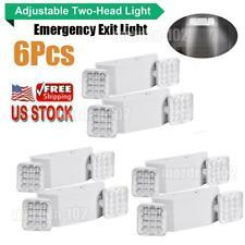 6pcs Led Emergency Exit Light Dual Head Lighting Fixture Universal Home Office