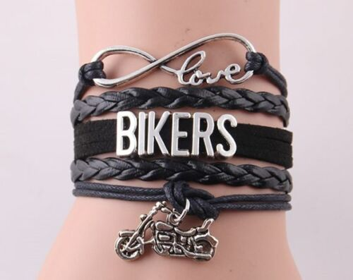 Infinity Love Ride Biker Motorcycle leather Charm Bracelet