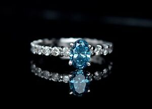Oval-Blue-Diamond-14K-Solid-White-Gold-Round-Eternity-Engagement-Ring-1-75ctw