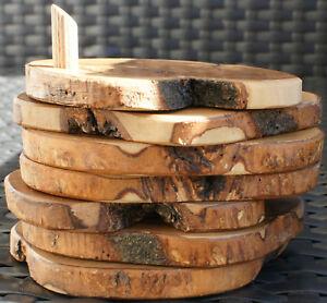 Olivenholz-Glasuntersetzer-Natur-7-teilig-Holz-handgefertigt-Untersetzer