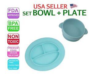 Baby Plate Tray Mat Bowl Set Silicone Bpa Free Fda