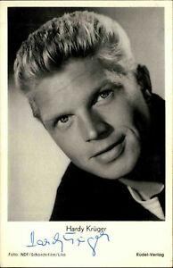 Autogrammkarte-Autograph-Film-handsigniert-HARDY-KRUGER-1955-Ruedel-Foto-Karte