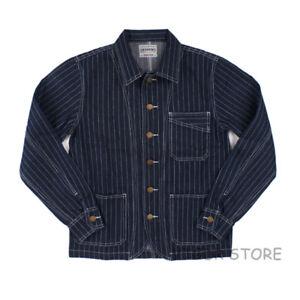 Railroad-Denim-Jacket-Vintage-Striped-Men-039-s-Work-Jean-Chore-Casual-Outwear