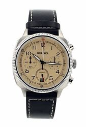 Bulova 96B231 Chronograph Beige Dial Mens Watch