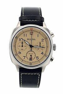 Bulova-Men-039-s-96B231-Chronograph-Black-Genuine-Leather-Beige-Dial-Watch
