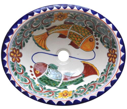 #063 MEDIUM BATHROOM SINK 17X14 MEXICAN CERAMIC HAND PAINT DROP IN UNDERMOUNT