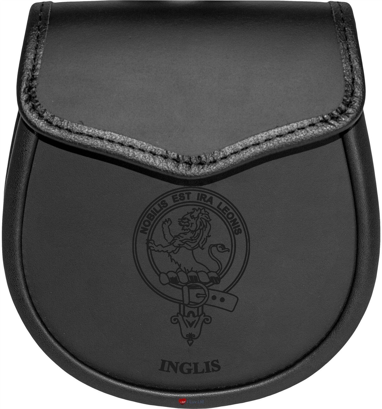 Inglis Leather Day Sporran Scottish Clan Crest