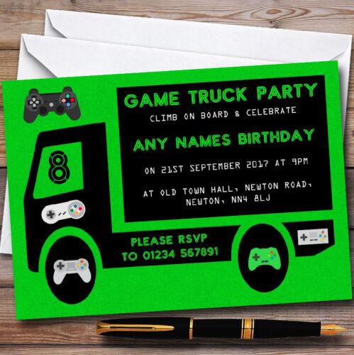 Green Game Camion De Jeu Personnalisé Enfants Fête D/'Anniversaire Invitations