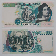 REPRODUCTION 500000 LIRE RAFFAELLO FDS STAMPA FILIGRANA ITALY REGALO SAMSUNG PS4