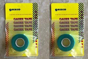 Nouveau! Gexco Gauze Tape Rolls - 2 Rouleaux De 30 Ft (environ 9.14 M) Chaque Tennis Grip Ruban Vert-afficher Le Titre D'origine