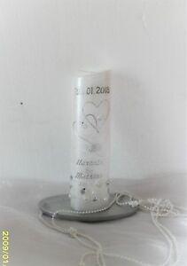 Hochzeitskerze,Traukerze,Jubiläumskerze(25,50,60)--mit Perlen-sehr Edel weiß