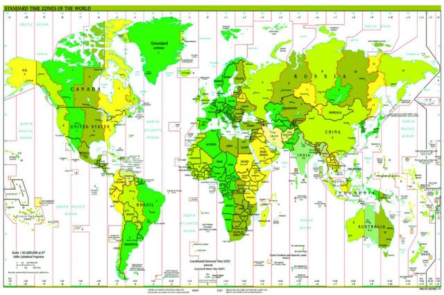A2 size gloss laminated world map poster standard time zones a2 size gloss laminated world map poster standard time zones political atlas gumiabroncs Gallery