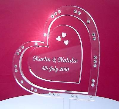 Espressive Personalizzata Cuore Sul Lato Incisi Matrimonio Decorazioni Per Torta Con Cristalli-
