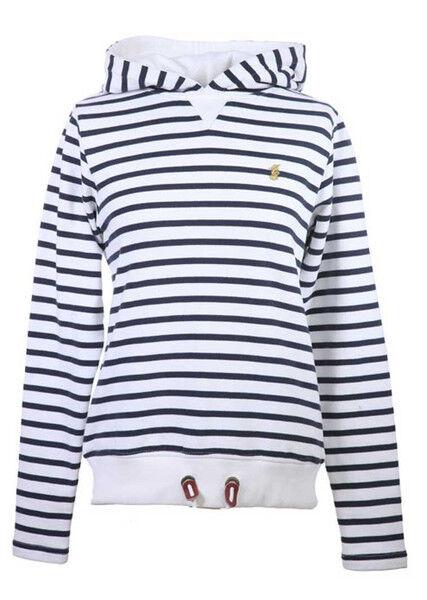 Lansdown Ladies Pacific Hoodie - White Navy Stripe Size 8-18