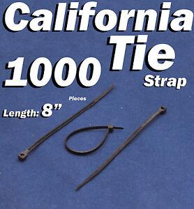 """1000 X pcs Black 8"""" Tie Cord Strap 200mm Network Nylon Plastic Cable Wire Zip"""