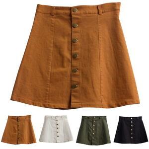 Women-A-line-Jeans-Front-Button-High-Waist-Denim-Slim-Skirt-Dress-Summer