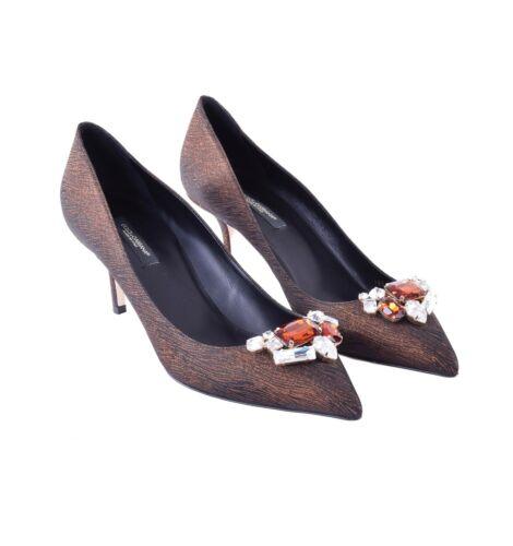 DOLCE /& GABBANA Crystal Brooch Jacquard Pumps Heels Shoes BELLUCCI Brown 05532