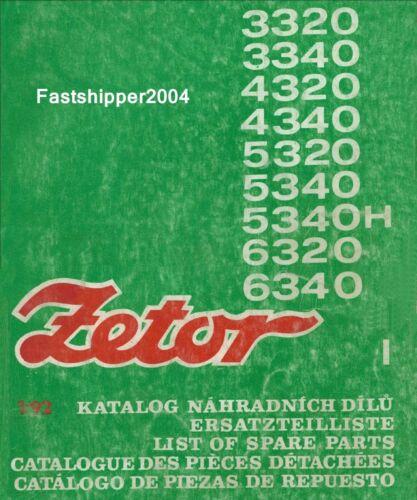 Zetor 3320-6340 Tractors Operators & Spare Parts List Manuals ...
