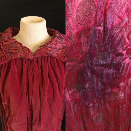 1920's Pink Velvet Lamé Opera Cape Coat