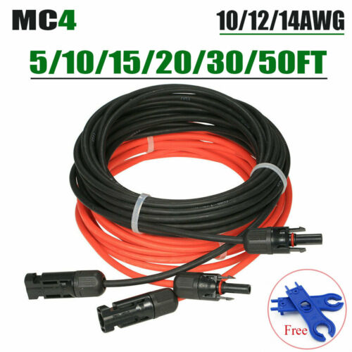 Solar Panel Extension Cable Wire 10//12//14AWG  5//20//50FT MC-4 F/&M Connector IP67+