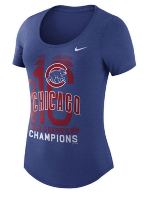 outlet store 5139e b6399 Chicago Cubs Nike MLB Womens World Series Scoop Tshirt 20900051 Large