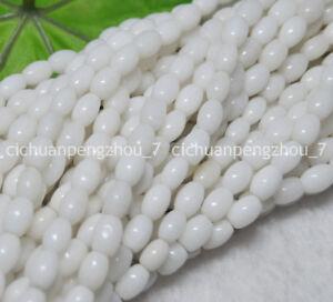 """Arroz De Piedras Preciosas De Jade Natural 6x9mm Blanco-forma suelta granos 15/"""" Strand"""