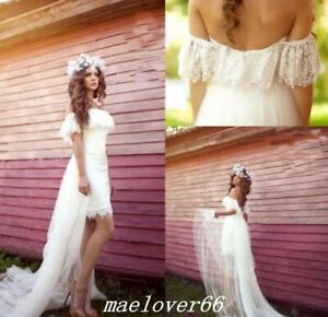 Details about Off Shoulder Bohemian Lace Beach High Low Wedding Dress  Bridal Gowns Plus Size