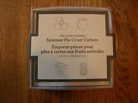 Williams Sonoma Summer Fruit Pie Crust/cookie Cutters-peach,cherry,strawberry,