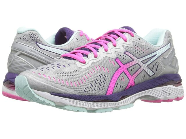 Women's ASICS GEL Kayano 23 Running Shoes 8.5 Silver Pink Glow Parachute  Purple