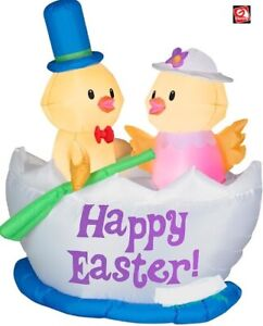 EASTER BUNNY BABY CHICKS IN EGG BOAT AIRBLOWN INFLATABLE YARD DECORATION 5 FT