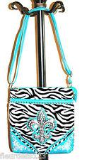 Zebra Print Rhinestone Fleur de Lis Messenger Bag- Choose Color