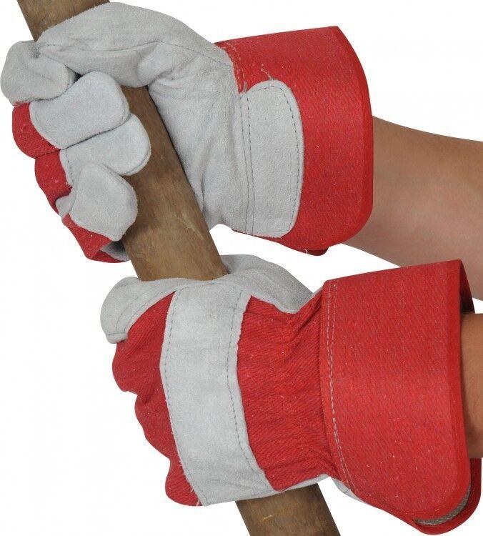 Canadese pelle Operaio da Lavoro Rosso/Grigio Guanti Resistente - Rosso/Grigio Lavoro dae383
