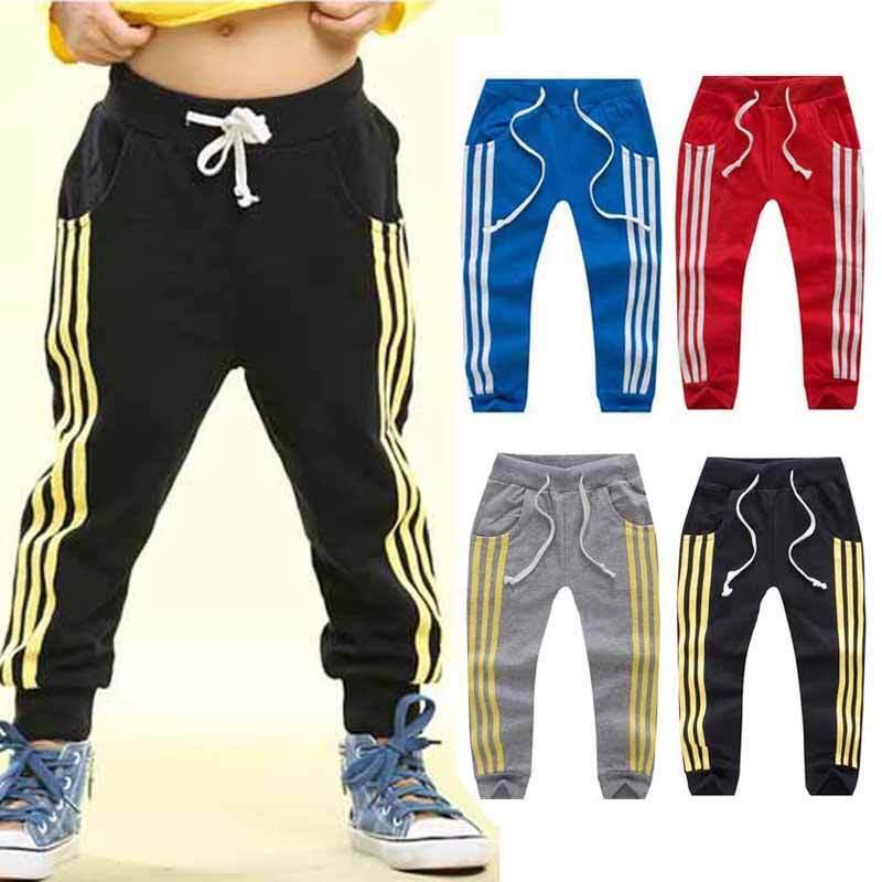 Baby Boys Girls Sports Stripe Pants Toddler Kid Sweat Pants
