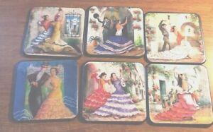 SET-6-SPAIN-SPANISH-coasters-COLORFUL-Men-Women-Flamenco-Dancers-Souvenir