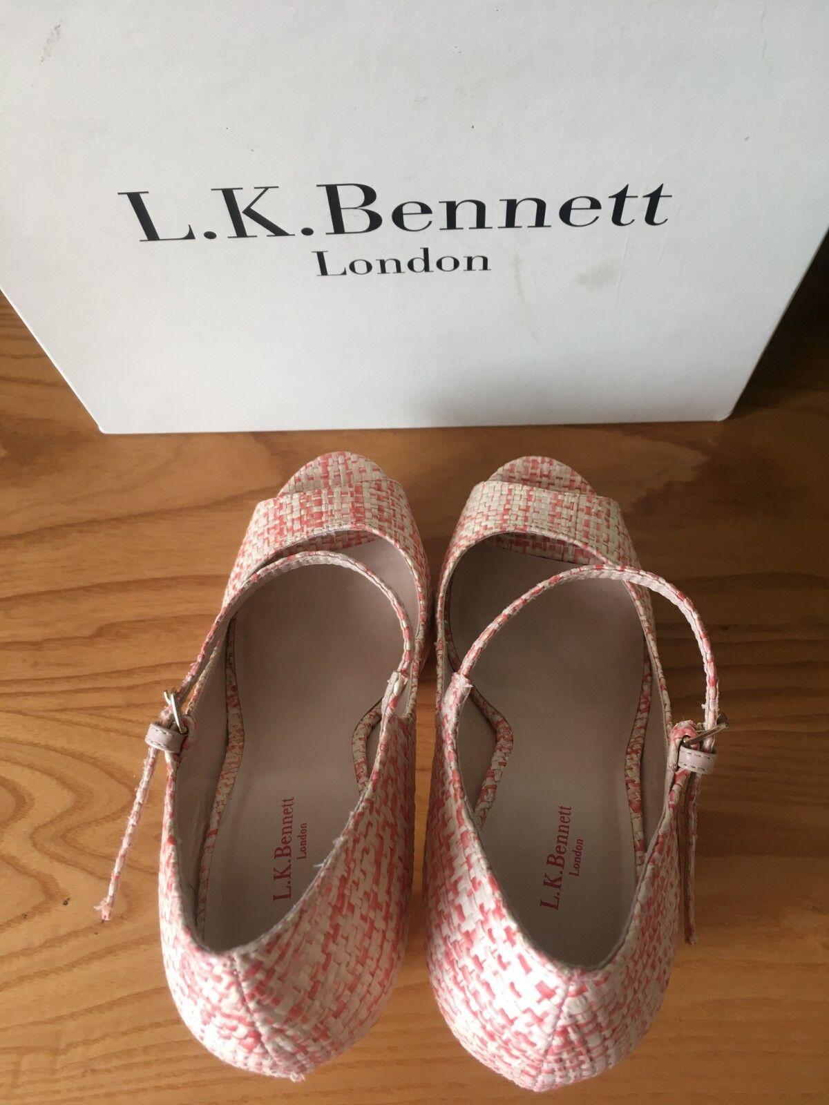 L.K Bennett Amika rot cream raffia raffia raffia platform Mary Jane peep toe pumps UK 6 EU 39 2ddfd8