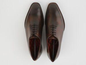 GOODYEAR-WELT-Handmade-Oxford-Hommes-wholecut-Formel-Tan-Cuir-Veau-Robe-Chaussures