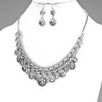 Antique Silver Vintage Coin Drop Braided Chain Necklace Set