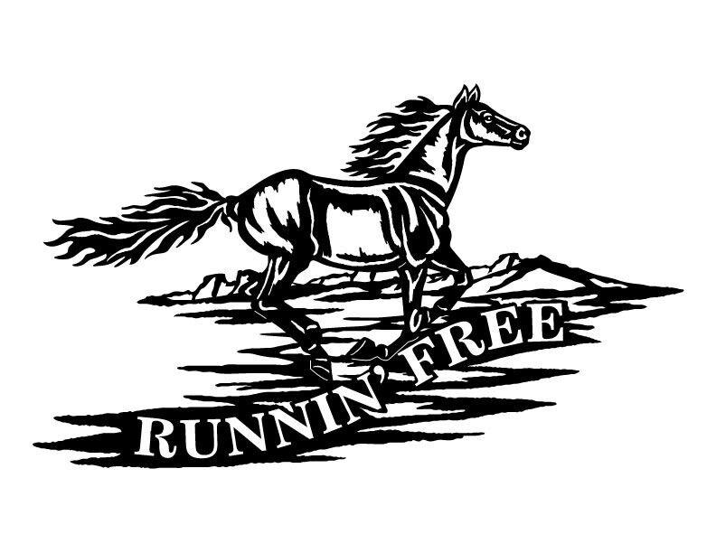 """""""Runnin' Free"""" Horse Sign Metal Art Wall Decor"""