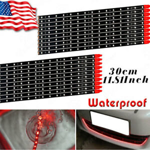 Details About 20x 15 Led 30cm Red Waterproof Auto Motorcycle Flexible Light Strip Tape 12v Us