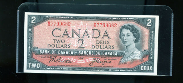 1954 Bank of Canada $2 Beattie Coyne AU Wl5