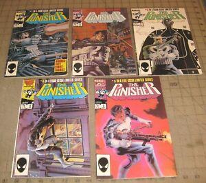 The PUNISHER #1 thru #5 (1985/86) FN-VF Comic Set - 1st Solo Series - Wolverine