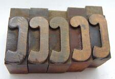 Printing Letterpress Printers Block Wood Type Letter C Lot Of 5