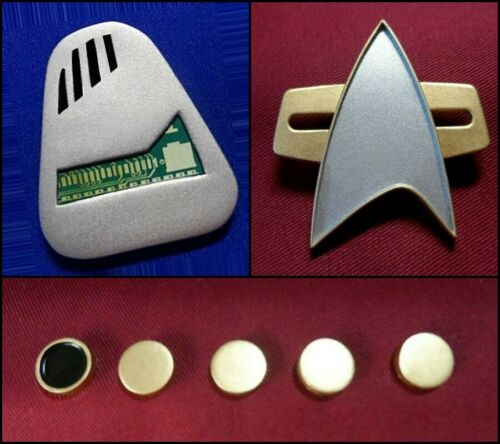 Star Trek Voyager Mobile Holo Emitter Communicator Pin Combadge Badge /& Rank Pip