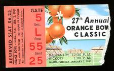 1961 Orange Bowl Football Ticket Missouri v Navy 414