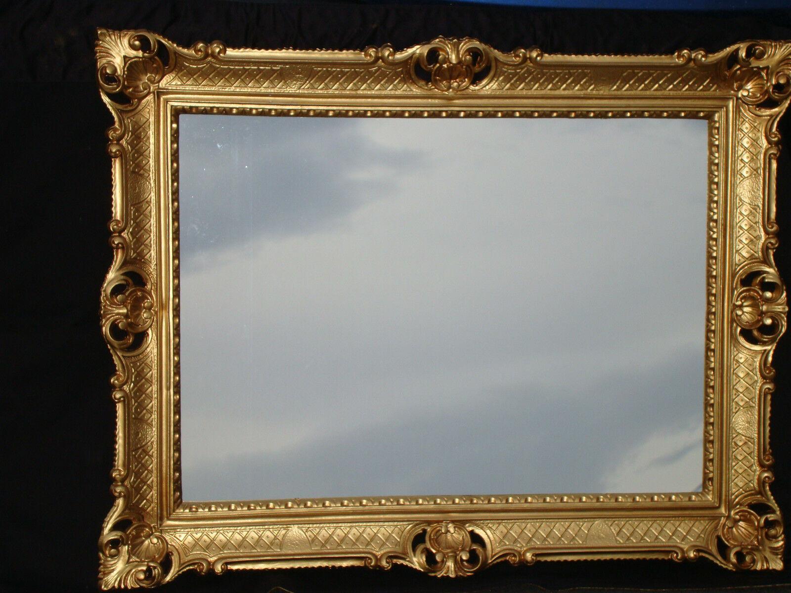 Cadre d'image 90x70 cm mirroir ANCIEN REPRO baroque or rechtkig reg3057-g