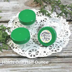 100-Clear-Plastic-Jars-Green-CAPS-Lids-Top-DecoJars-3803-1-2oz-1tbl-Bottles-USA