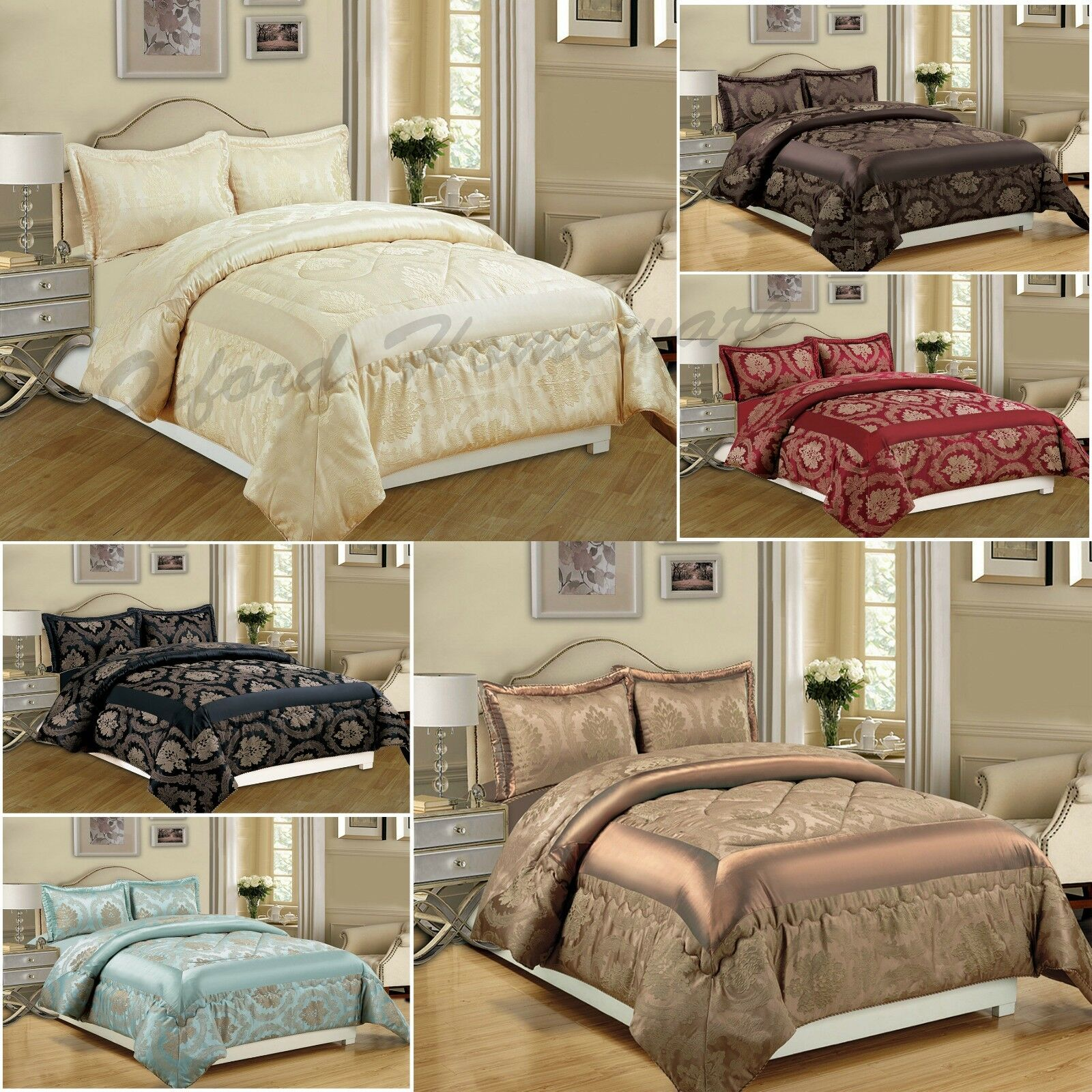 Luxury Jacquard 3Piece Quilted Bedspread Comforter Set With Pillow Cases UK Größe