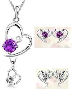 925-Sterling-Silver-Cubic-Zirconia-Amethyst-Pendant-Necklace-Stud-Earrings-G3