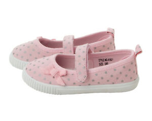 GIRLS PINK CANVAS POLKA DOT TOUCH FASTENING PUMPS SHOES TRAINERS UK SIZE 4-12
