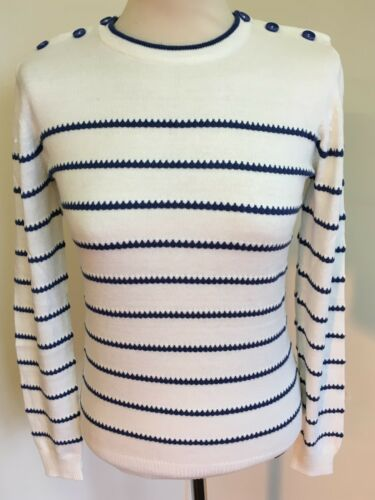 Detail New Brand Large Button Striped Donna Button Cream Size Blue L Donna Ness 4fwxCnTq